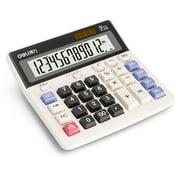 Deli 12-Digit Desktop Calculator, Dual Power, Extra Large LCD Display, White