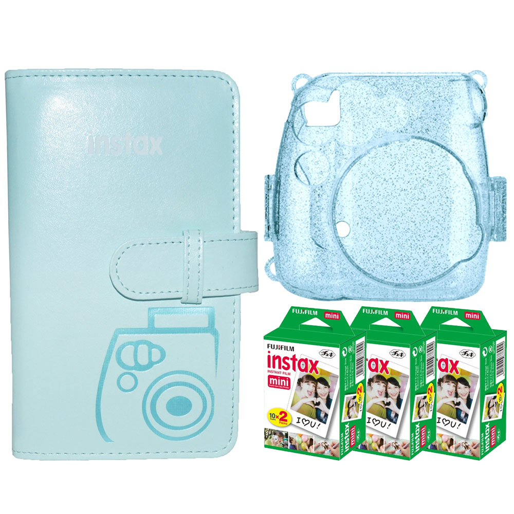 Three Essentials Kit! Fuji Pocket Wallet Album – Ice Blue + Trendy Ice Blue Glitter Hard Case for Fuji Mini-series + Fuji Instax Film Twin Pack High Quality – 3 Packs