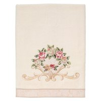 Rosefan Embroidered Bath Towel - Ivory