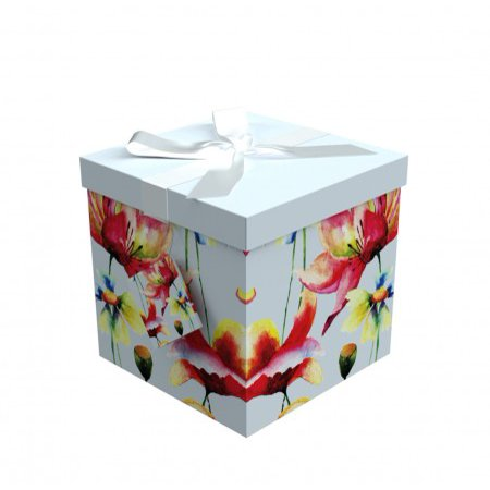 Gift Box 7x7x7 Sonia Collection - Easy to Assemble & Reusable - No Glue Required - Ribbon, Tissue Paper, and Gift Tag Included - EZ Gift Box by Endless Art US Green Frog Gift Box