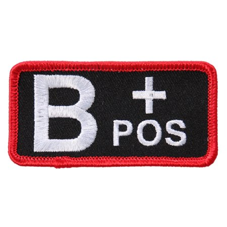 "Blood Type B Pos, High Thread Embroidered Iron-on / Saw-on, Heat Sealed Backing B+ Positive Rayon PATCH - 3"" X 2"""