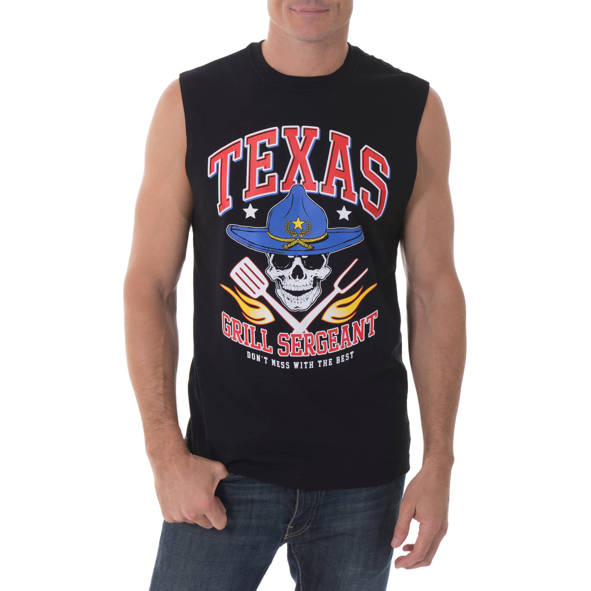 Faded Glory Men's Texas Grill Sergeant Graphic Muscle Tee