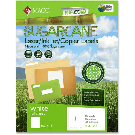 Maco, MACMSL0100, Printable Sugarcane Shipping Labels, 100 / Box, White (Halloween Food Labels Printable)