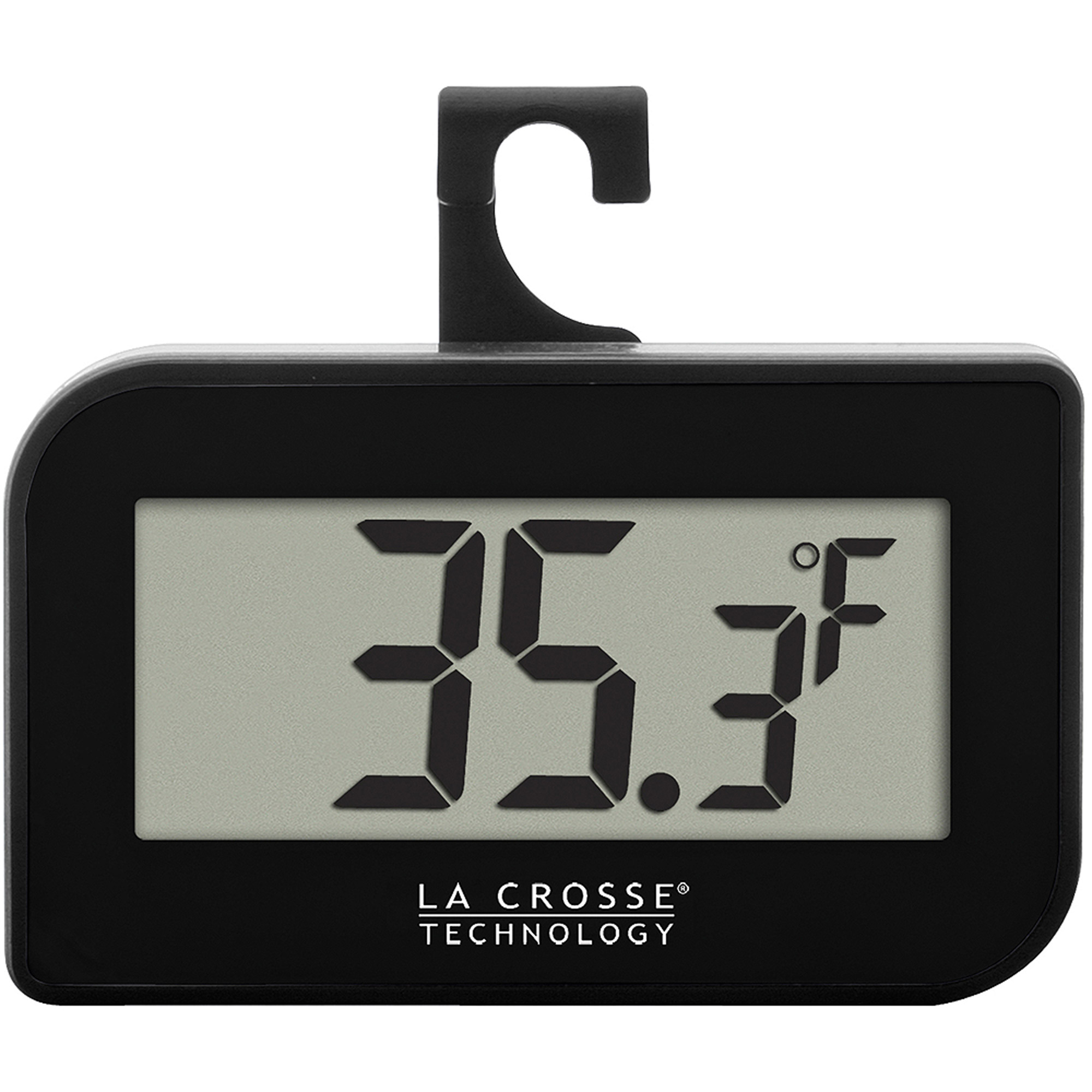 La Crosse Technology 314-152-B Digital Refrigerator-Freezer Thermometer with Hook, Black