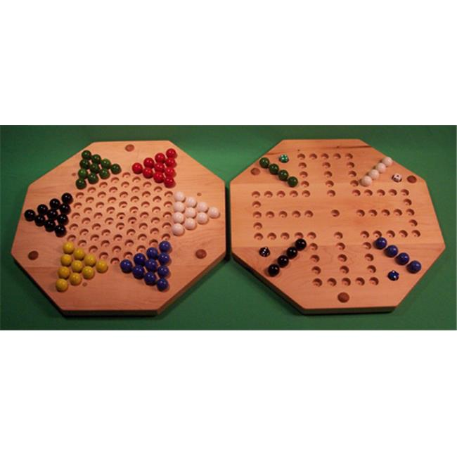 THE PUZZLE-MAN TOYS W-1960 Wooden Marble Game Board - (2 Games In 1) - 18 in. Octagon - Aggravation 4-Player 5-Hole & Chinese Checkers - Hard Maple