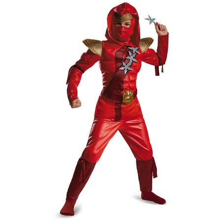 Fire Dragon Ninja Costume (Red Fire Ninja Muscle Child Halloween)