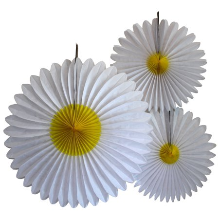 Devra Party Tissue Paper Daisy Flower Decorations, 13 and 20 inch, set of 3 - Daisy Decorations