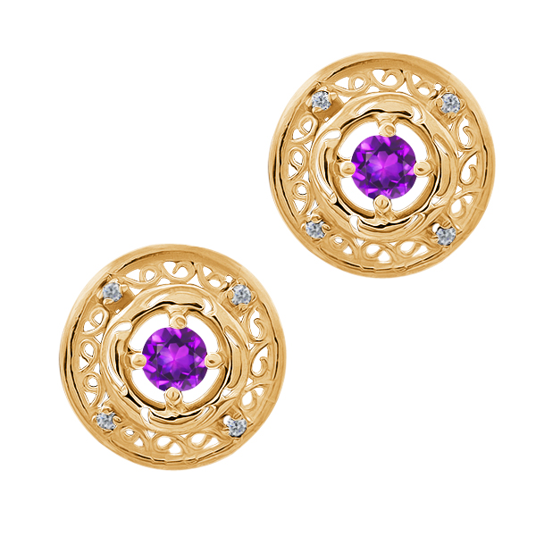 0.60 Ct Round Purple Amethyst 18K Yellow Gold Earrings