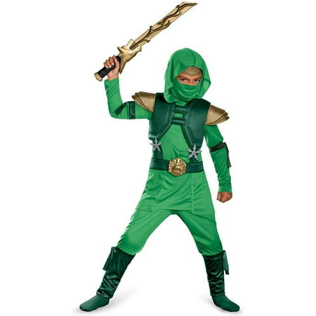 Disguise Shadow Ninja Green Master Ninja Deluxe Boys Costume (7-8) (Green Ninja Costume)