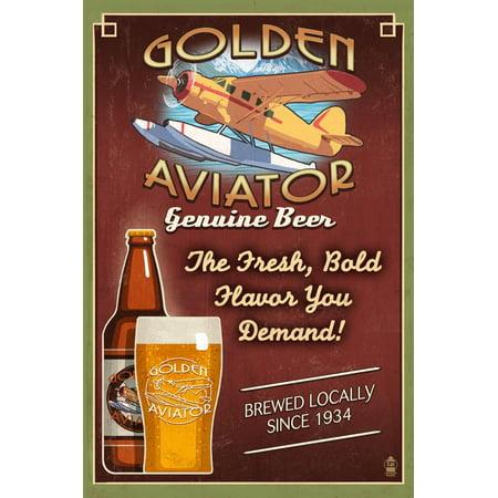 Vintage Aviator Wall (Aviator Beer - Vintage Sign Laminated Print Wall Art By Lantern Press)
