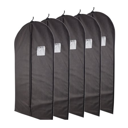Plixio Black Garment Bags for Storage of Suits or Dresses—Includes Zipper & Transparent Window (5 Pack of 40 Inch Bags)