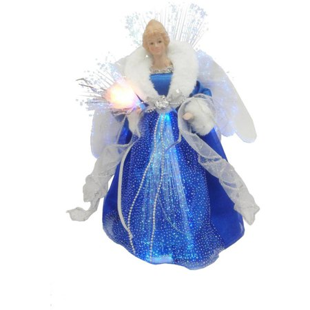 Holiday Time Dark Blue And Silver Angel Led Tree Topper