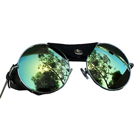 Road Vision Round Lens Motorcycle Sunglasses Steampunk Cycling (Chrome, Blue / Green