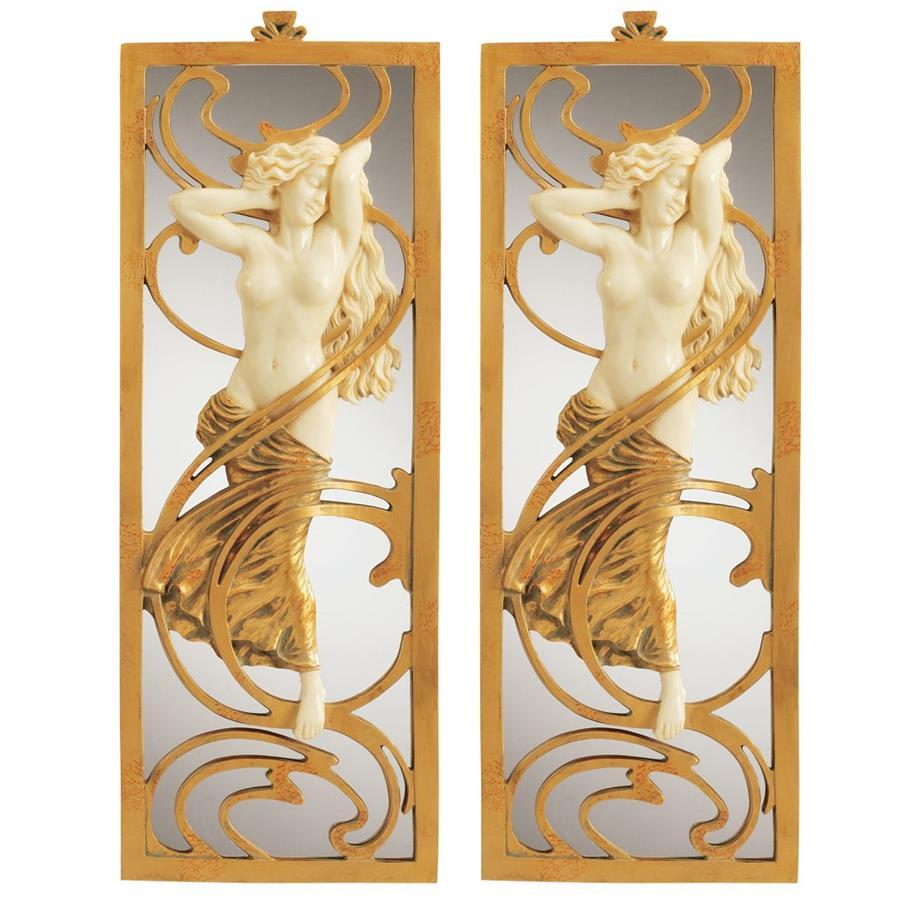 Parisian Art Nouveau Wall Mirror: Set of Two
