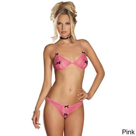 b6e3e30290d0b Emaje - Emmaje  Women s Sexy Crotchless Lace Peek-a-Boo Bra and Panty Set  Pink - S M - fits sizes 2 to 8 - Walmart.com