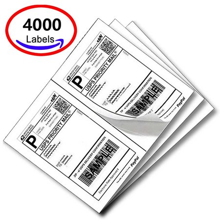 SJPACK Half Sheet Self Adhesive Shipping Labels for Laser & Inkjet Printers, 8.5 x 5.5 Inches, White, Pack of 4000 Labels Laser Label Sheet