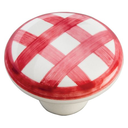 (Hickory Hardware English Cozy Red Checker Cabinet Knob)