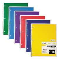 Mead Spiral Bound Notebook, Perforated, College Rule, 11 x 8, White, 100 Sheets, Assorted - 1 count