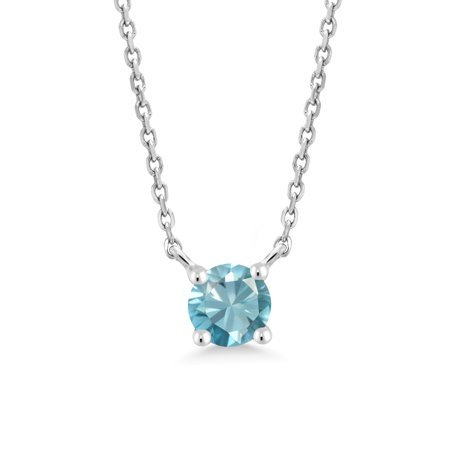 0.50 Ct Round Blue Zircon 10K White Gold Necklace