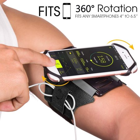 - Sports Exercise Armband, 360° Rotatable Cellphone Sweatproof Arm Band Strap for Workout Running Hiking Biking w/ Adjustable Strap Built-in Key Holder Compatible Apple iPhone Android Smartphones- Black