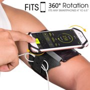Sports Exercise Armband, 360 Rotatable Cellphone Sweatproof Arm Band Strap for Workout Running Hiking Biking w/ Adjustable Strap Built-in Key Holder Compatible Apple iPhone Android Smartphones- Black