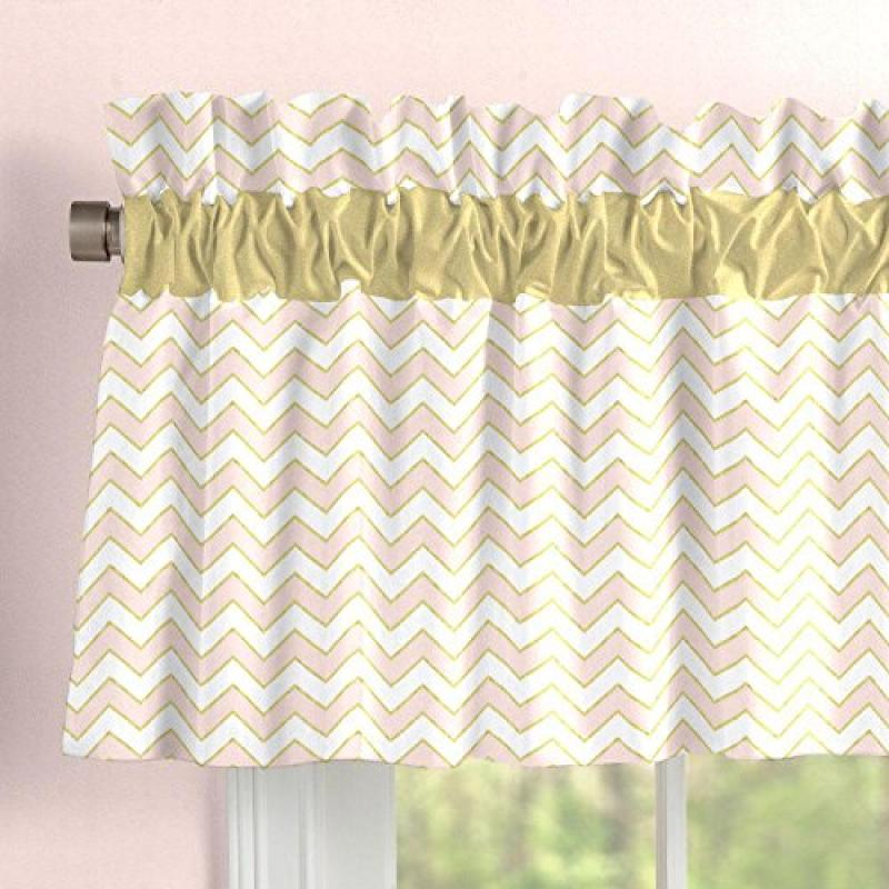 Carousel Pale Pink and Gold Chevron Window Valance Rod Po...