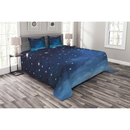338f98a5028f Night Bedspread Set, Vibrant Star in Abstract Ombre Style Sky Astronomy  Themed Graphic, Decorative Quilted Coverlet Set with Pillow Shams Included,  ...
