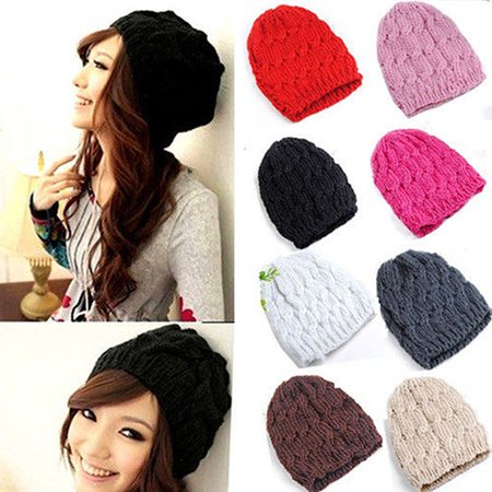 Crochet Winter Beanie - Moderna Women Winter Fashion Cable Knit Crochet Hat Solid Color Warm Baggy Beanie Cap