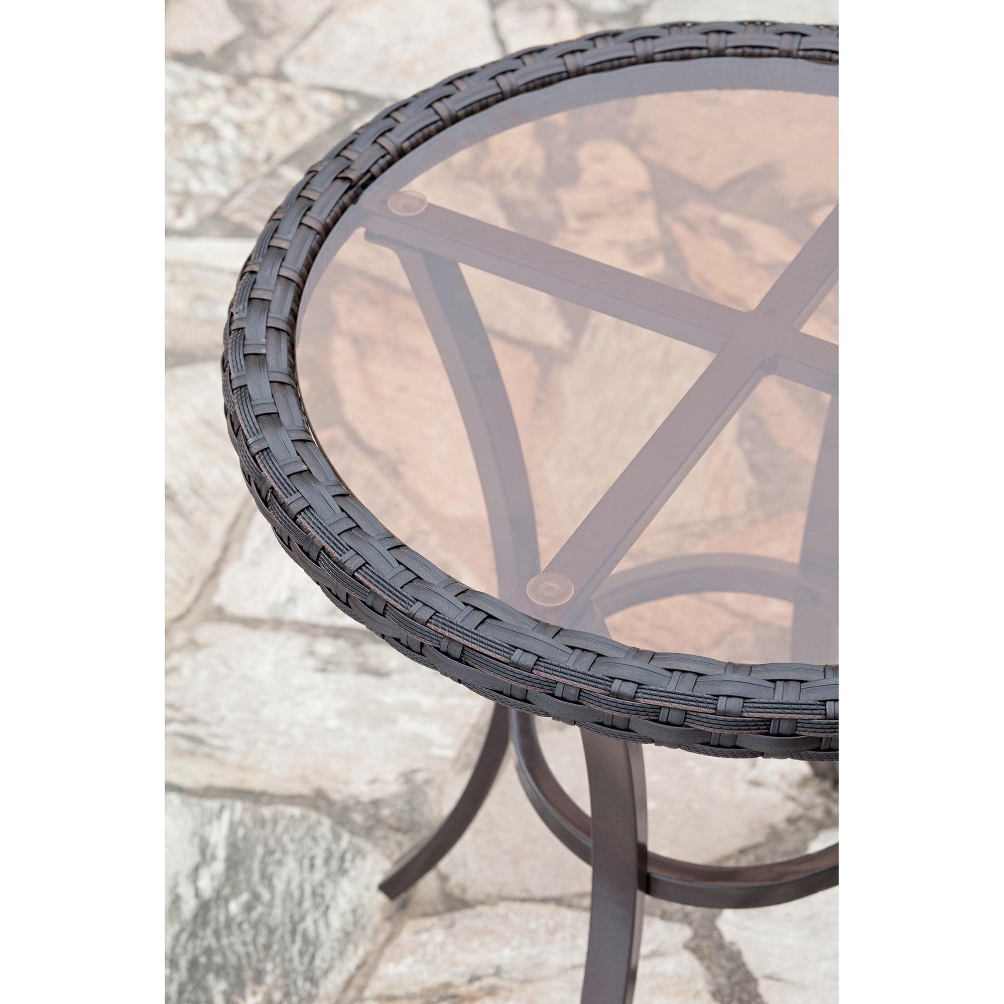 Savannah 3 Piece Metal and Woven Deep Seating Outdoor Bistro Set