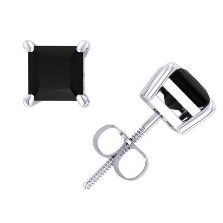 1.0Ct Princess Cut Black Diamond Basket Stud Earrings 14k White Gold Prong Set I1 ()