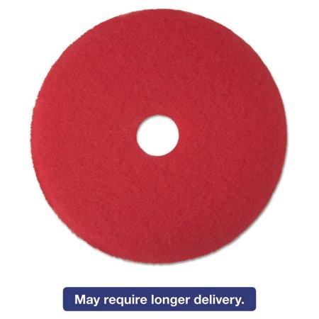 "Low-Speed Buffer Floor Pads 5100, 18"" Diameter, Red, 5/carton"