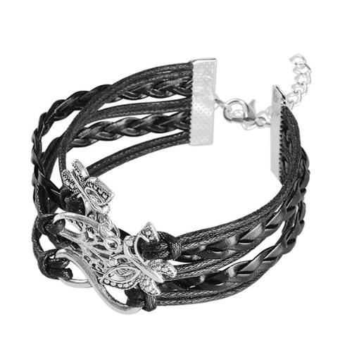 Zodaca 7 to 9 inch Adjustable Black Braided Velvet and Leather Cord Bracelet with Silver Tree and Butterfly Design