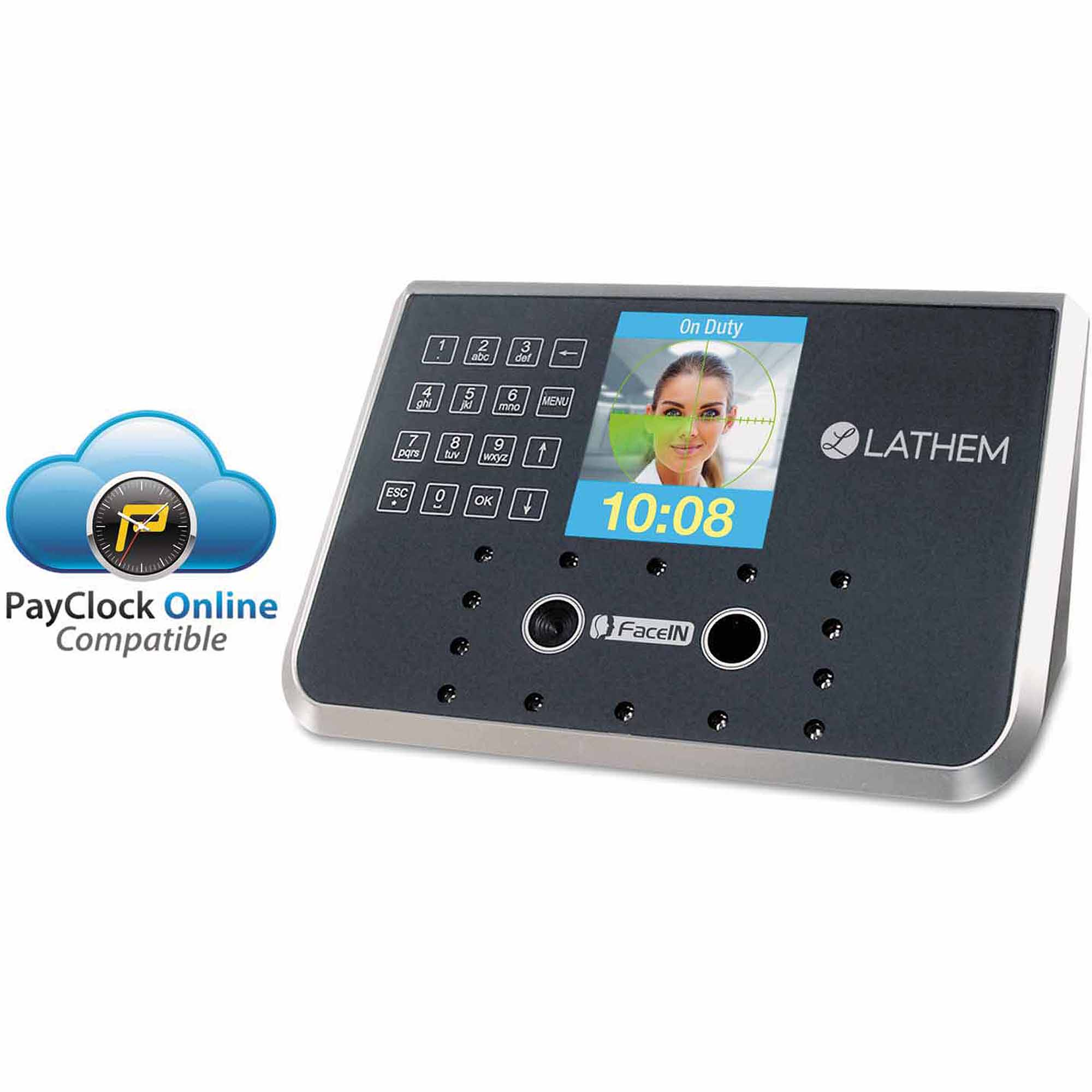 "Lathem Time Face Recognition Time Clock System. 500"" Employees, Grey, 7.25"" x 3.5"" x 5.25"""