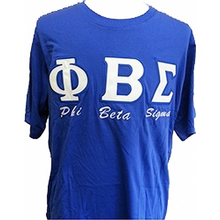 Phi Beta Sigma Fraternity Applique Mens Tee  Short Sleeve   Blue   M