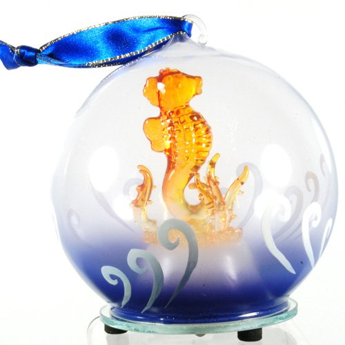 Unison Gifts Light Up Glass Seahorse Ornament