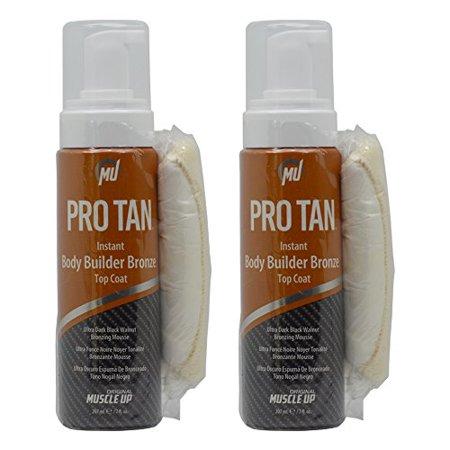 Dark Tan Combo - Pro Tan Instant Body Builder Bronze Top Coat Ultra Dark Black Walnut Bronzing Mousse 7oz
