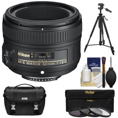 Nikon 50mm f/1.8 G AF-S Nikkor Lens with Nikon Case + 3 Filters + Tripod Kit for D3200, D3300, D5300, D5500, D7100, D7200, D750, D810 Cameras