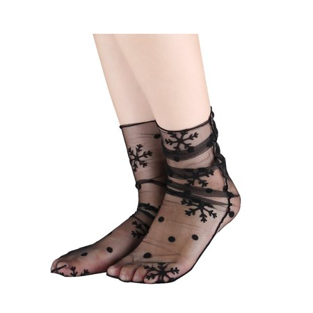 Women 10 pair Lace Translucent Breathable Ankle High Sheer Socks Snowflake Black - image 1 of 6
