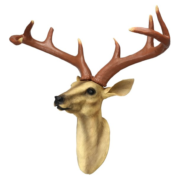 Wall Mounted Deer Head Resin Stag Deer Head Bust Fake Taxidermy Buck Head Man Cave Cabin Lodge Decor Walmart Com Walmart Com
