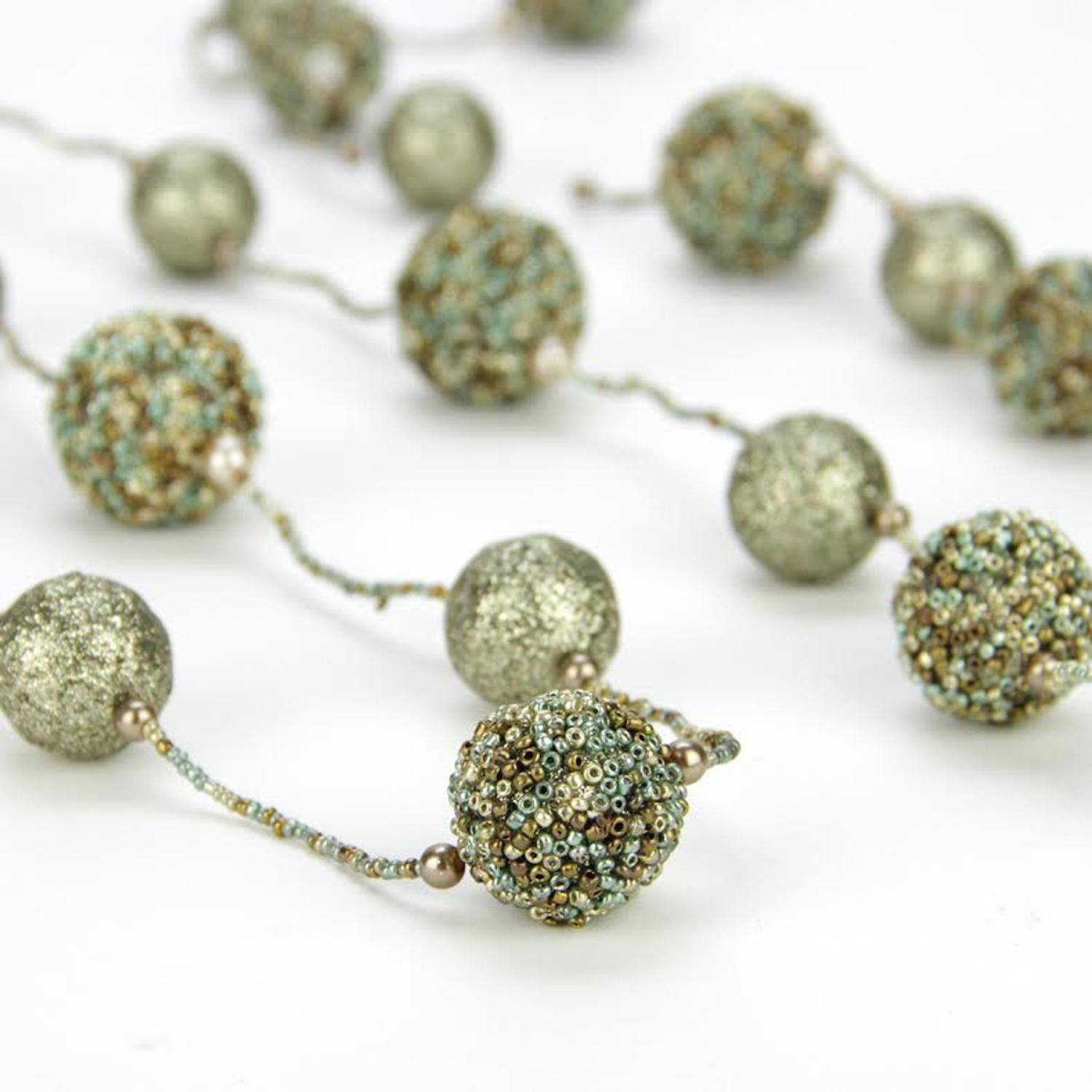 6' Fancy Green, Gold and Brown Beaded and Glittered Christmas Ball Garland