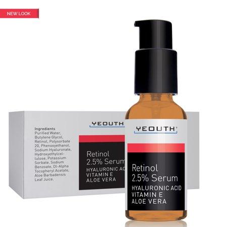 Yeouth rétinol sérique de 2,5% avec l'acide hyaluronique, l'Aloe Vera, Vitamine E - Boost production de collagène, réduire les rides, les ridules, même ton de la peau, les taches de vieillesse, taches solaires - 1 ml - Yeouth - garanti