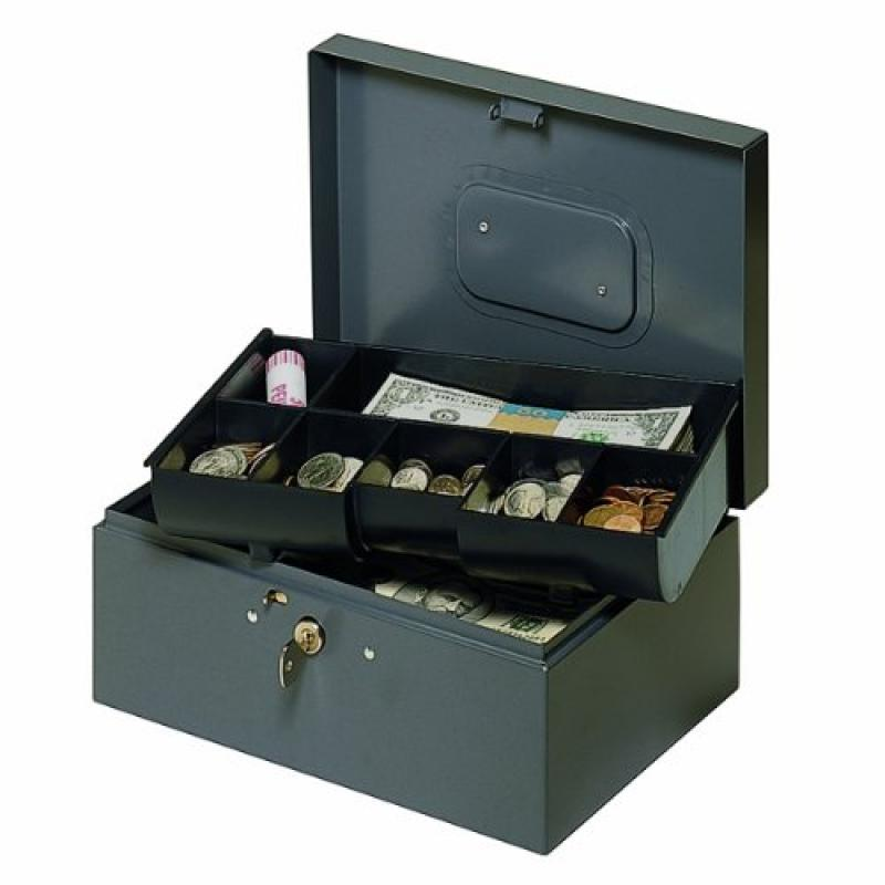 MMF Industries Steel Cash Box with Safety Latch and Recessed Handle (221F30GRA)