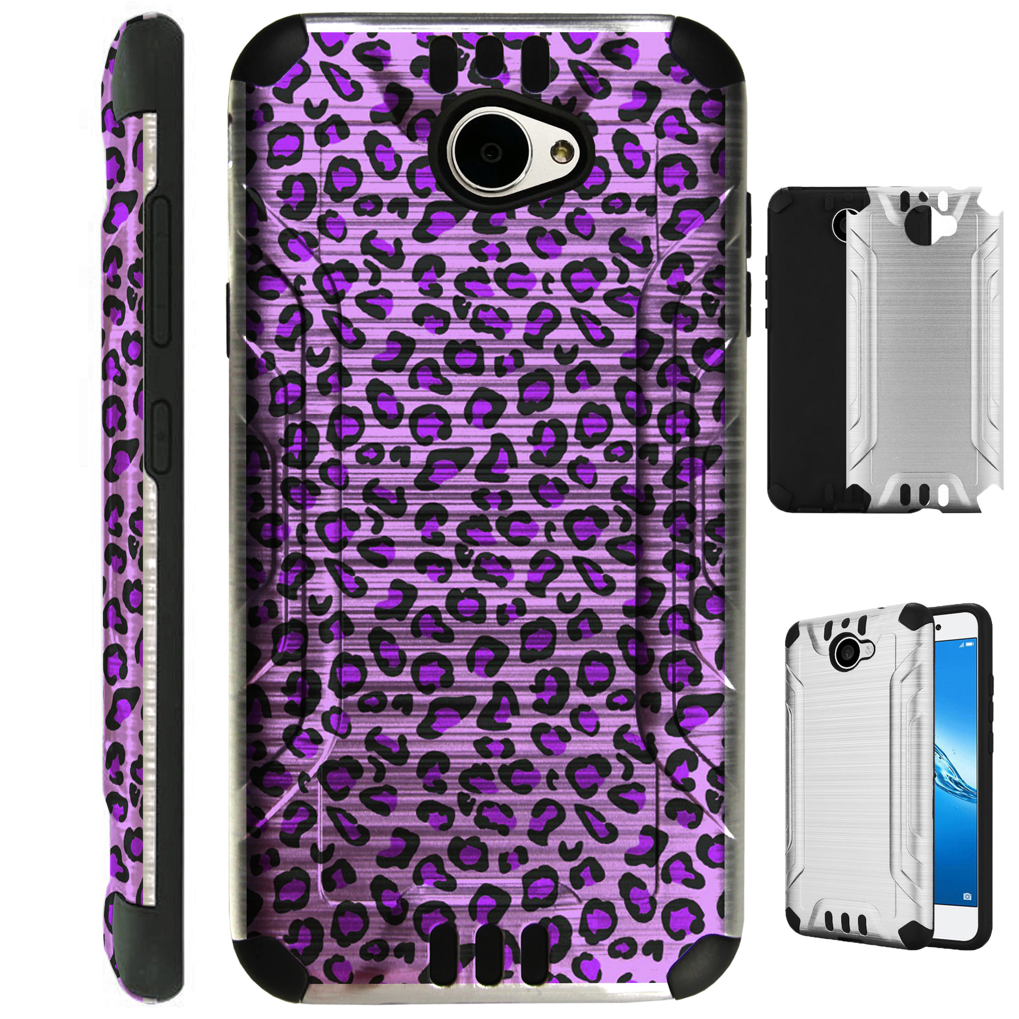 For Huawei Ascend XT2 / Huawei Ascend XT 2 / Huawei Elate 4G Case Brushed Metal Texture Hybrid TPU Metallic Guard Plastic Phone Cover (Purple Leopard Skin)