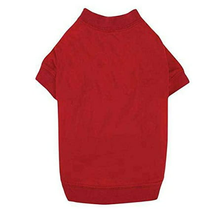 T-SHIRTS for Dogs Brightly Colored Dog Tshirt with Warm Elastic Neck Sleeves (Small Tomato Red) (Dog Hidden Protection Sleeve)