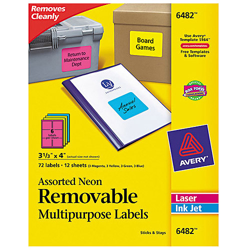 "Avery 6482 Removable Self-Adhesive Color-Coding Labels, Assorted Neon, 3-1/3"" x 4"", 72 Labels/Pack"
