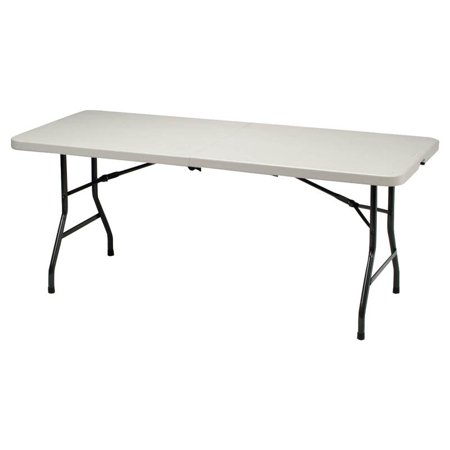 MECO Heavy Duty 6ft. Table with Folding Legs, Mocha Metal Frame and Cream Plastic Top ()