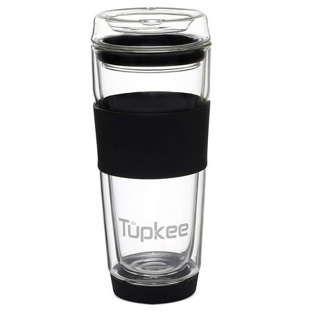 Tupkee Double Wall Glass Tumbler - Insulated Tea/Coffee Mug & Lid, Hand Blown Glass, 14-Ounce, Black
