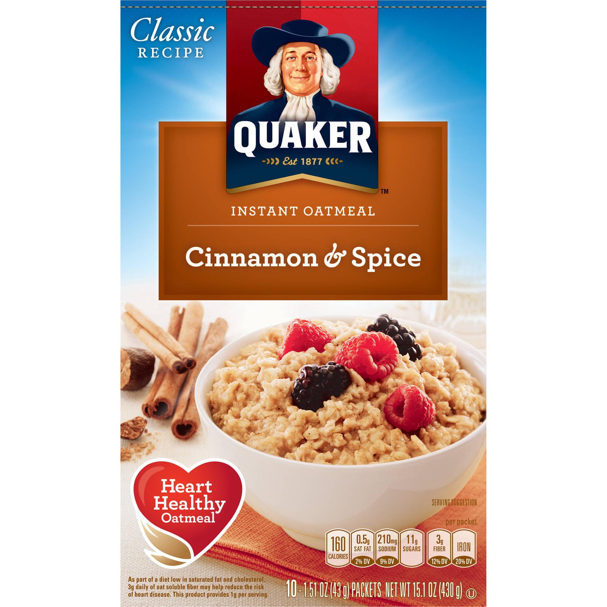 Quaker Cinnamon & Spice Instant Oatmeal, 10 ct