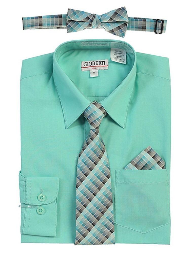 Gioberti Big Boys Mint Tie Bow Tie Handkerchief Dress Shirt 4 Pc Set