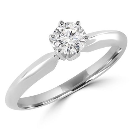 Majesty Diamonds MD170219-7.25 0.33 CT Round Diamond Solitaire Engagement Ring in 10K White Gold - Size 7.25 - image 1 of 1